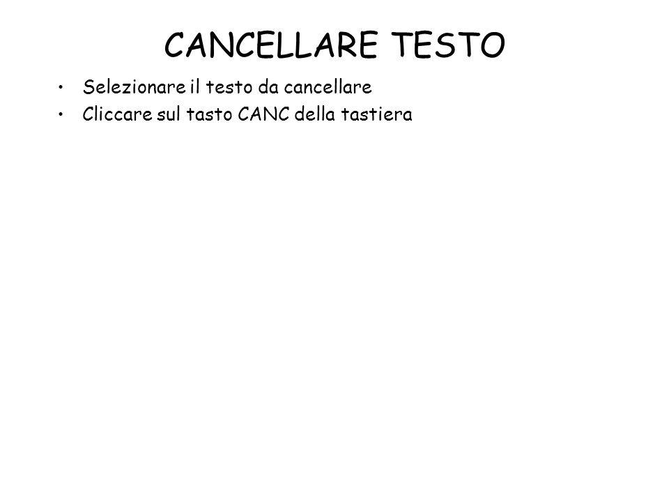 CANCELLARE TESTO Selezionare il testo da cancellare Cliccare sul tasto CANC della tastiera