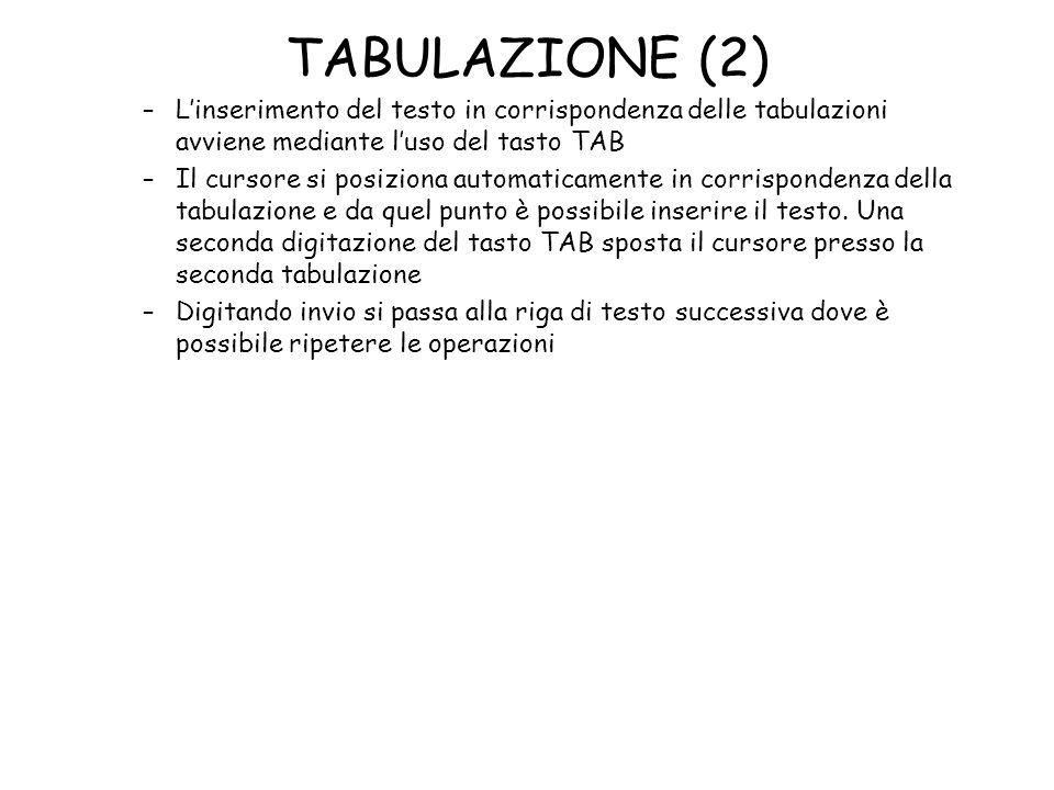 TABULAZIONE (2) –Linserimento del testo in corrispondenza delle tabulazioni avviene mediante luso del tasto TAB –Il cursore si posiziona automaticamen