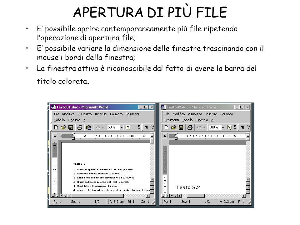 APERTURA DI PIÙ FILE E possibile aprire contemporaneamente più file ripetendo loperazione di apertura file; E possibile variare la dimensione delle fi