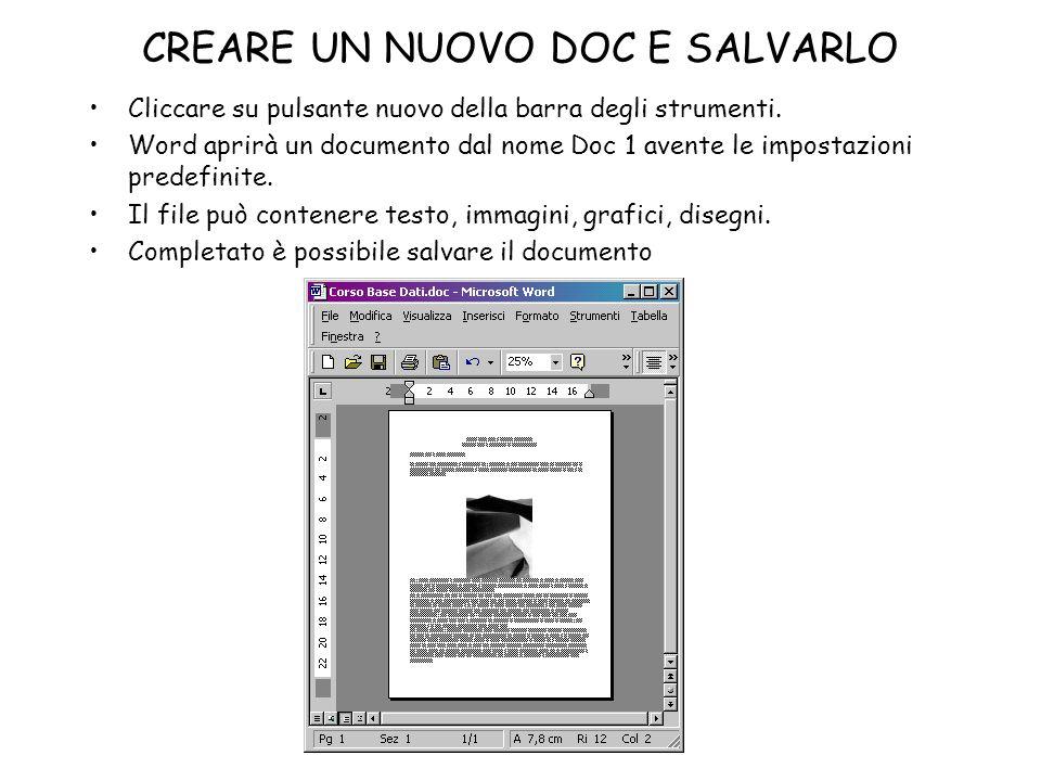 CREARE UN NUOVO DOC E SALVARLO Cliccare su pulsante nuovo della barra degli strumenti. Word aprirà un documento dal nome Doc 1 avente le impostazioni