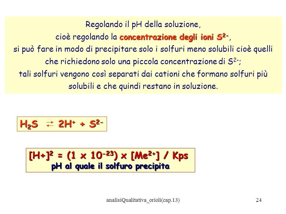 analisiQualitativa_orioli(cap.13)24 Regolando il pH della soluzione, concentrazione degli ioni S 2- cioè regolando la concentrazione degli ioni S 2-,