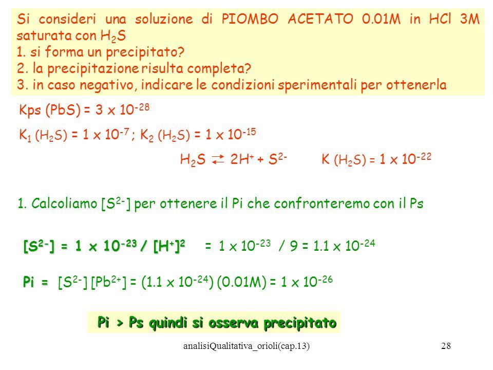analisiQualitativa_orioli(cap.13)28 Si consideri una soluzione di PIOMBO ACETATO 0.01M in HCl 3M saturata con H 2 S 1. si forma un precipitato? 2. la