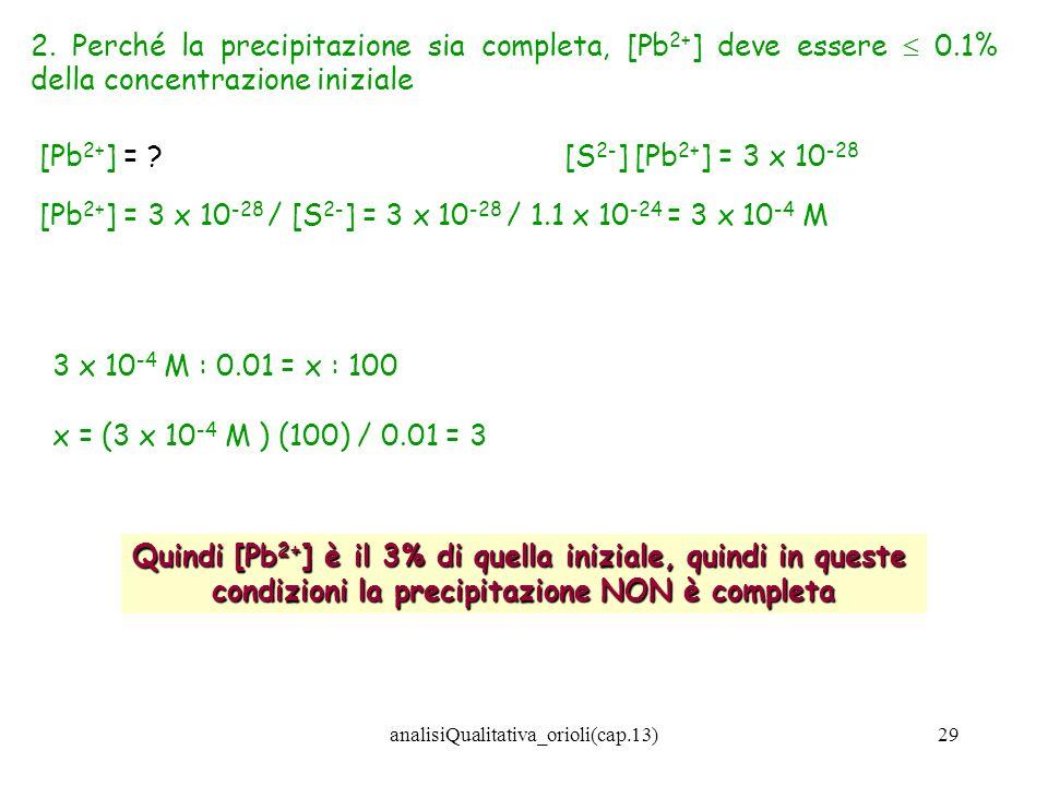 analisiQualitativa_orioli(cap.13)29 2. Perché la precipitazione sia completa, [Pb 2+ ] deve essere 0.1% della concentrazione iniziale 3 x 10 -4 M : 0.