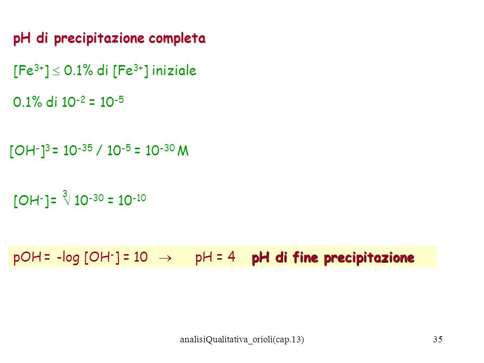 analisiQualitativa_orioli(cap.13)35 pH di precipitazione completa [Fe 3+ ] 0.1% di [Fe 3+ ] iniziale 0.1% di 10 -2 = 10 -5 [OH - ] 3 = 10 -35 / 10 -5