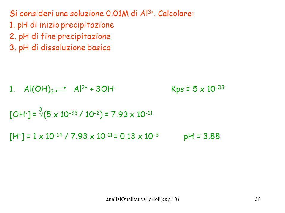 analisiQualitativa_orioli(cap.13)38 Si consideri una soluzione 0.01M di Al 3+. Calcolare: 1. pH di inizio precipitazione 2. pH di fine precipitazione