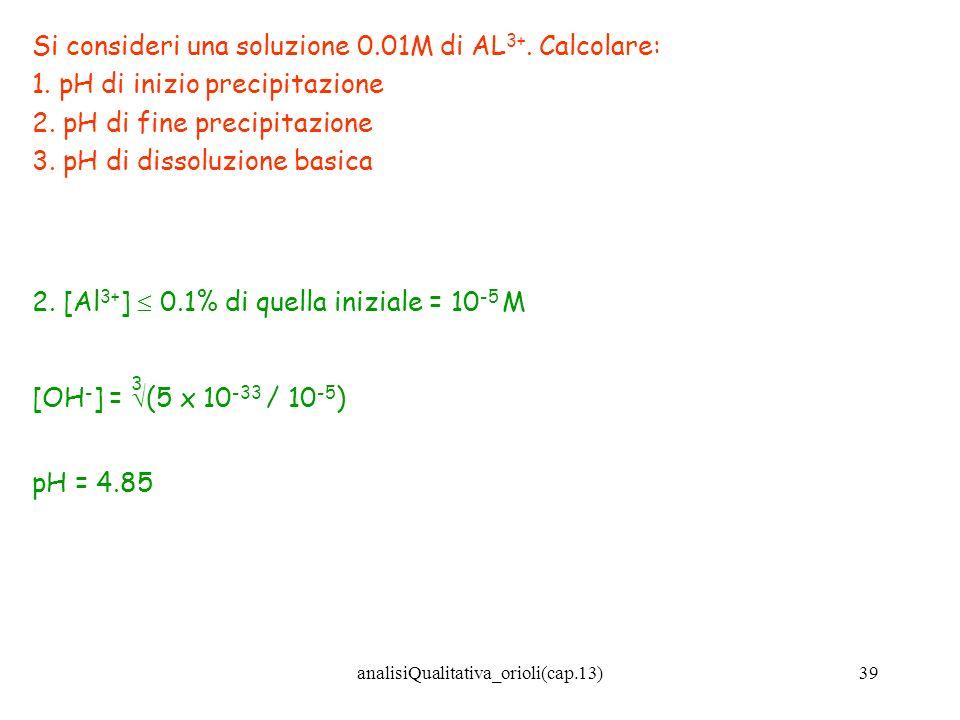 analisiQualitativa_orioli(cap.13)39 Si consideri una soluzione 0.01M di AL 3+. Calcolare: 1. pH di inizio precipitazione 2. pH di fine precipitazione