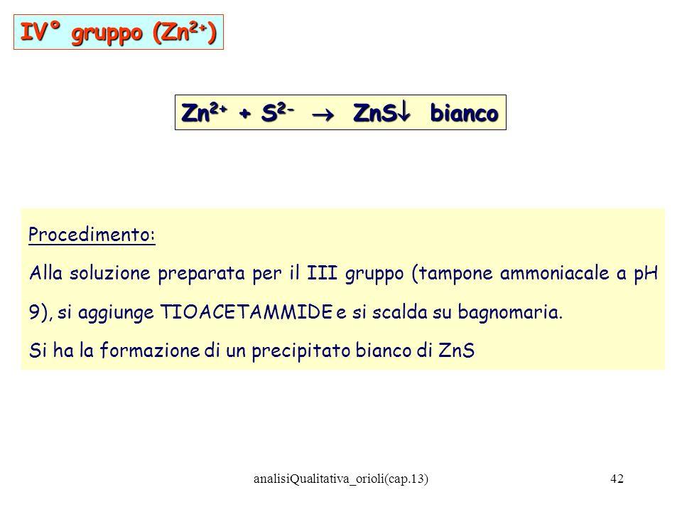 analisiQualitativa_orioli(cap.13)42 Zn 2+ + S 2- ZnS bianco Procedimento: Alla soluzione preparata per il III gruppo (tampone ammoniacale a pH 9), si