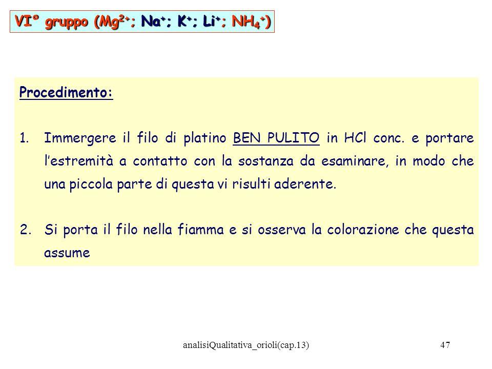 analisiQualitativa_orioli(cap.13)47 Procedimento: 1.Immergere il filo di platino BEN PULITO in HCl conc. e portare lestremità a contatto con la sostan