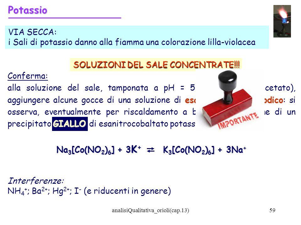 analisiQualitativa_orioli(cap.13)59 Potassio VIA SECCA: i Sali di potassio danno alla fiamma una colorazione lilla-violacea Conferma: esanitrocobaltat