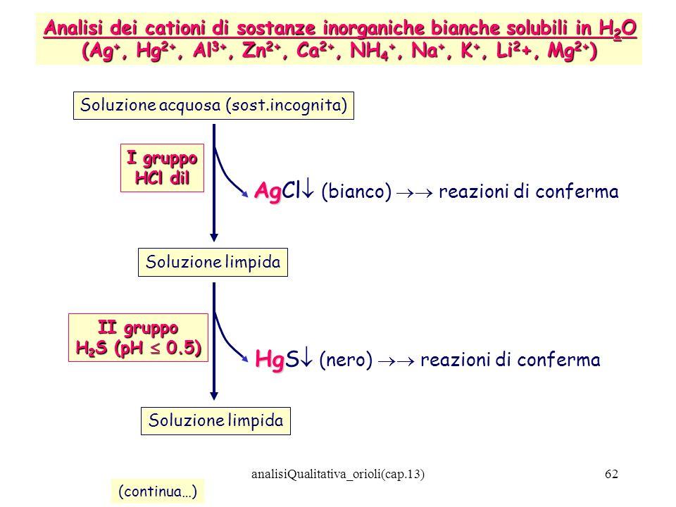 analisiQualitativa_orioli(cap.13)62 Soluzione acquosa (sost.incognita) Analisi dei cationi di sostanze inorganiche bianche solubili in H 2 O (Ag +, Hg