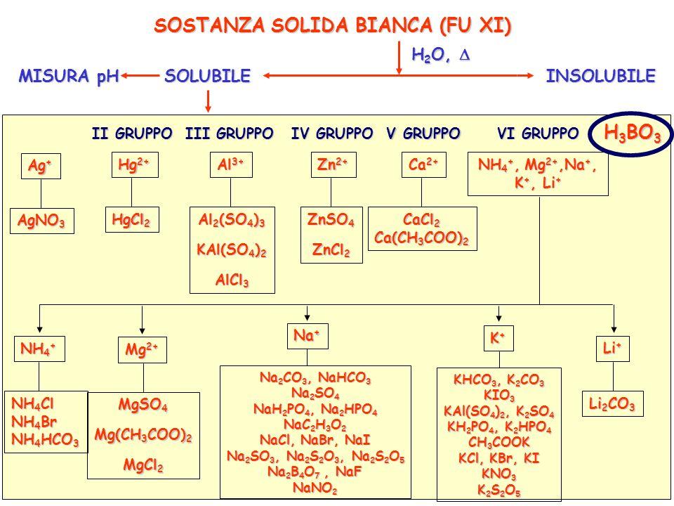 analisiQualitativa_orioli(cap.13)65 SOSTANZA SOLIDA BIANCA (FU XI) SOLUBILEINSOLUBILE H 2 O, H 2 O, MISURA pH I GRUPPO II GRUPPO III GRUPPO IV GRUPPO