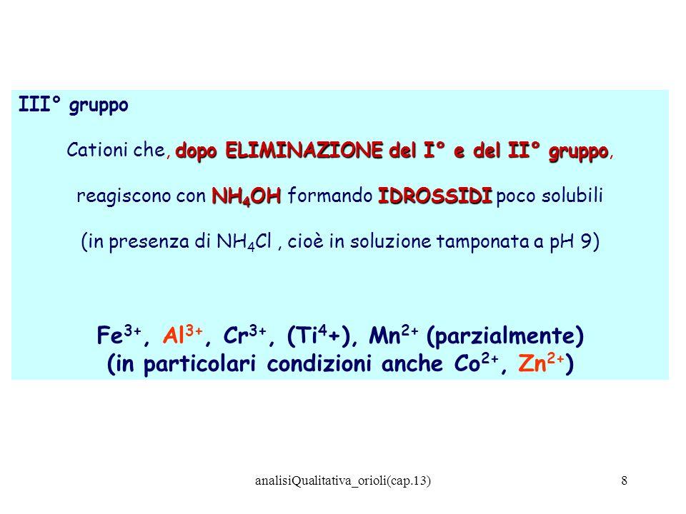 analisiQualitativa_orioli(cap.13)59 Potassio VIA SECCA: i Sali di potassio danno alla fiamma una colorazione lilla-violacea Conferma: esanitrocobaltato sodico GIALLO alla soluzione del sale, tamponata a pH = 5 (per tampone acetato), aggiungere alcune gocce di una soluzione di esanitrocobaltato sodico: si osserva, eventualmente per riscaldamento a b.m., la formazione di un precipitato GIALLO di esanitrocobaltato potassico Na 3 [Co(NO 2 ) 6 ] + 3 K + K 3 [Co(NO 2 ) 6 ] + 3Na + Interferenze: NH 4 + ; Ba 2+ ; Hg 2+ ; I - (e riducenti in genere) SOLUZIONI DEL SALE CONCENTRATE!!!