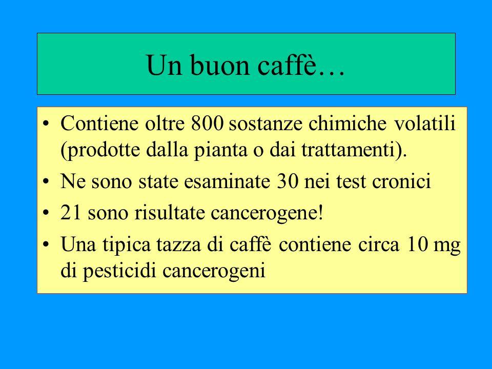 Un buon caffè… Contiene oltre 800 sostanze chimiche volatili (prodotte dalla pianta o dai trattamenti). Ne sono state esaminate 30 nei test cronici 21