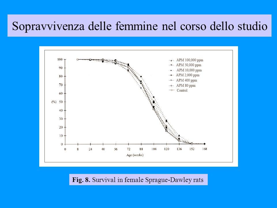 Sopravvivenza delle femmine nel corso dello studio Fig. 8. Survival in female Sprague-Dawley rats