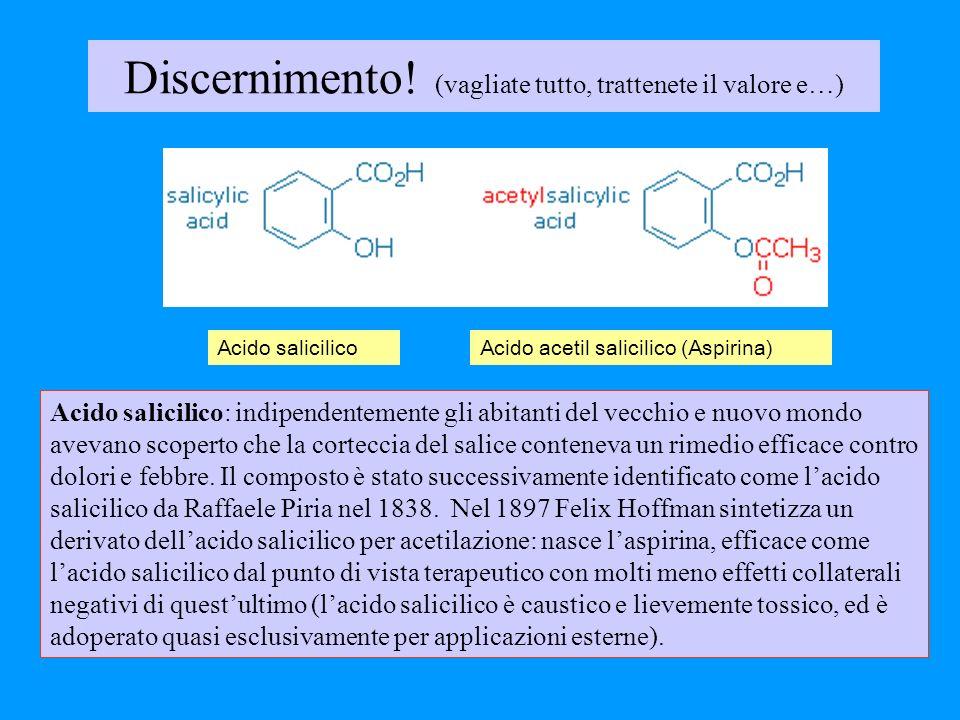 Discernimento! (vagliate tutto, trattenete il valore e…) Acido salicilico: indipendentemente gli abitanti del vecchio e nuovo mondo avevano scoperto c