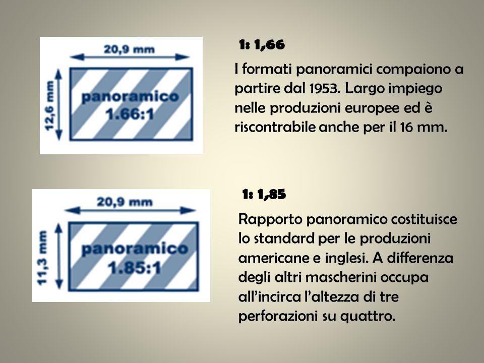 1: 1,66 I formati panoramici compaiono a partire dal 1953. Largo impiego nelle produzioni europee ed è riscontrabile anche per il 16 mm. 1: 1,85 Rappo