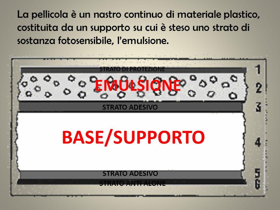 BASE/SUPPORTO EMULSIONE STRATO DI PROTEZIONE STRATO ADESIVO STRATO ANTI ALONE La pellicola è un nastro continuo di materiale plastico, costituita da u