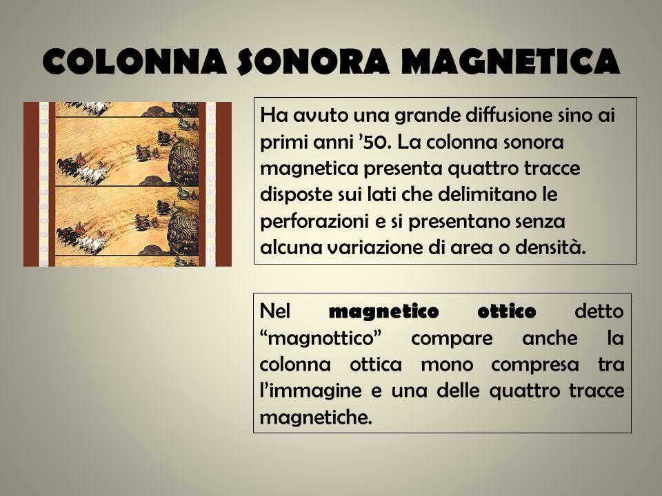 COLONNA SONORA MAGNETICA Ha avuto una grande diffusione sino ai primi anni 50. La colonna sonora magnetica presenta quattro tracce disposte sui lati c