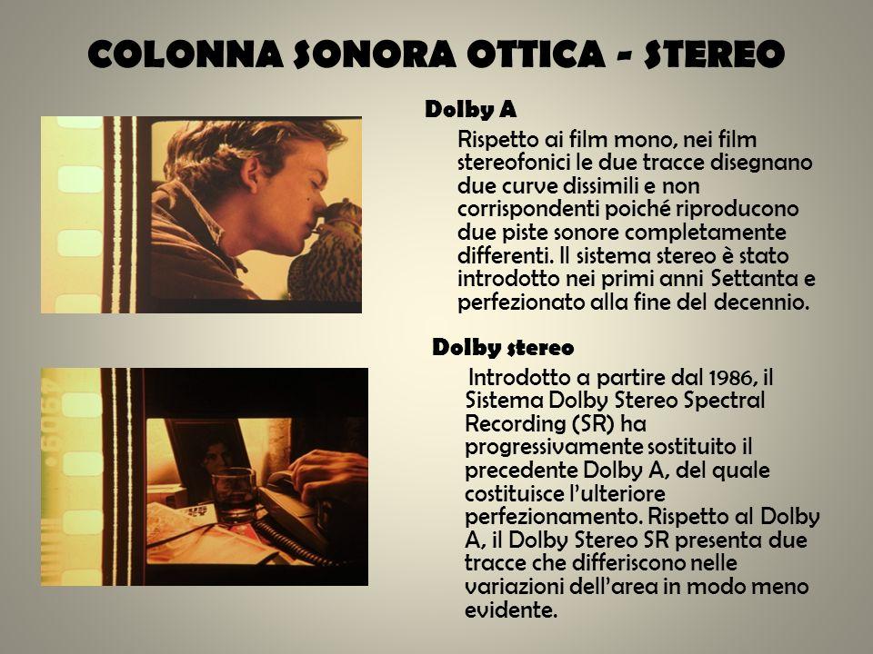 COLONNA SONORA OTTICA - STEREO Dolby A Rispetto ai film mono, nei film stereofonici le due tracce disegnano due curve dissimili e non corrispondenti p