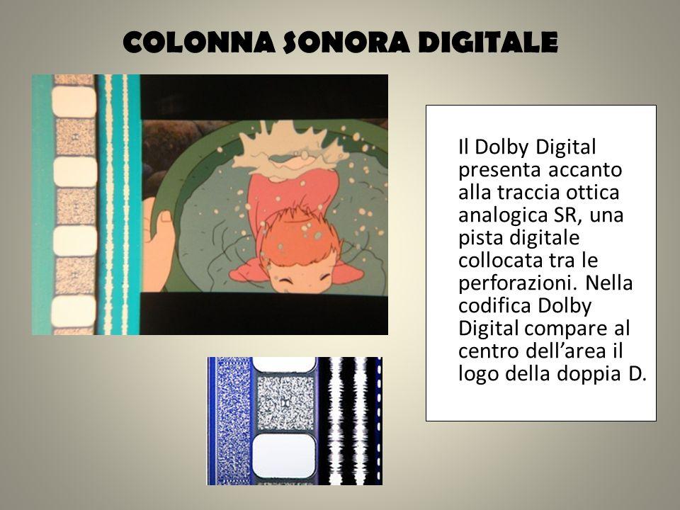 COLONNA SONORA DIGITALE Il Dolby Digital presenta accanto alla traccia ottica analogica SR, una pista digitale collocata tra le perforazioni. Nella co