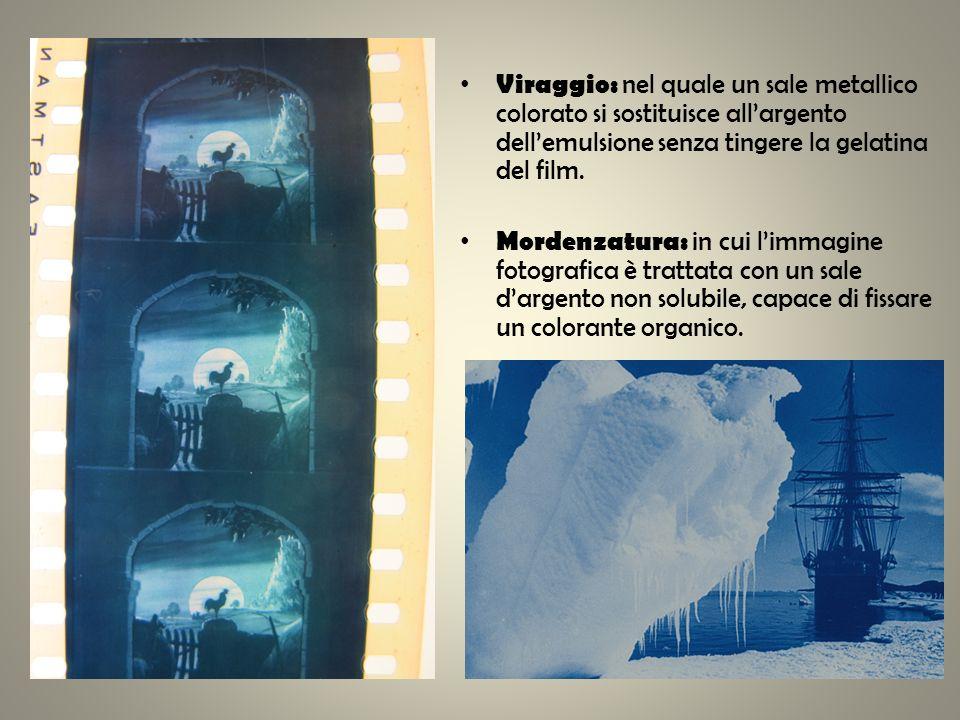 Viraggio: nel quale un sale metallico colorato si sostituisce allargento dellemulsione senza tingere la gelatina del film. Mordenzatura: in cui limmag