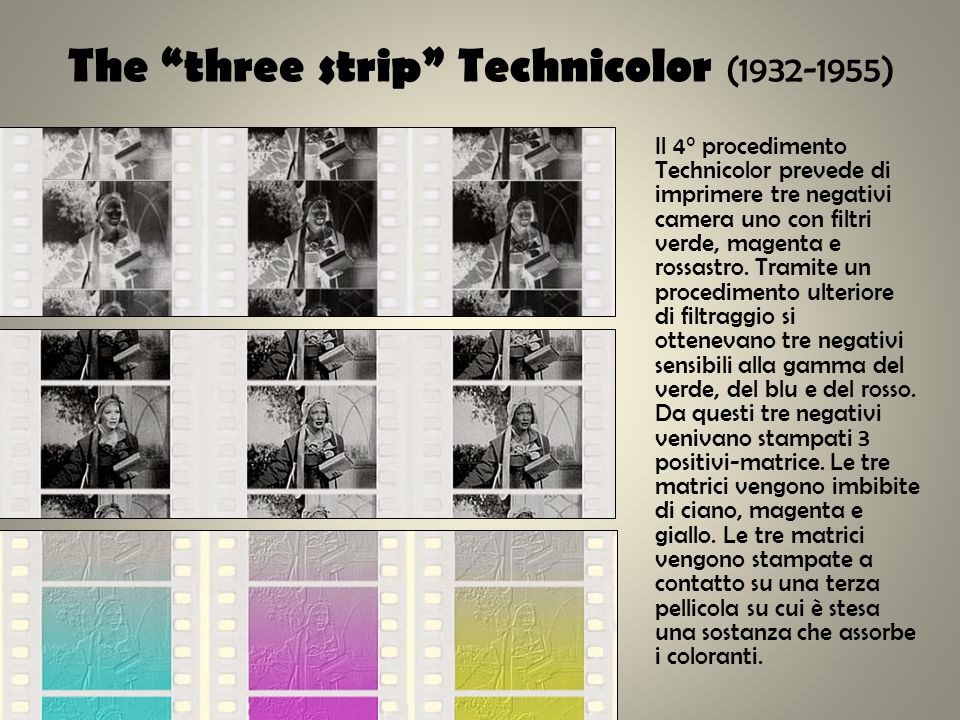 The three strip Technicolor (1932-1955) Il 4° procedimento Technicolor prevede di imprimere tre negativi camera uno con filtri verde, magenta e rossas