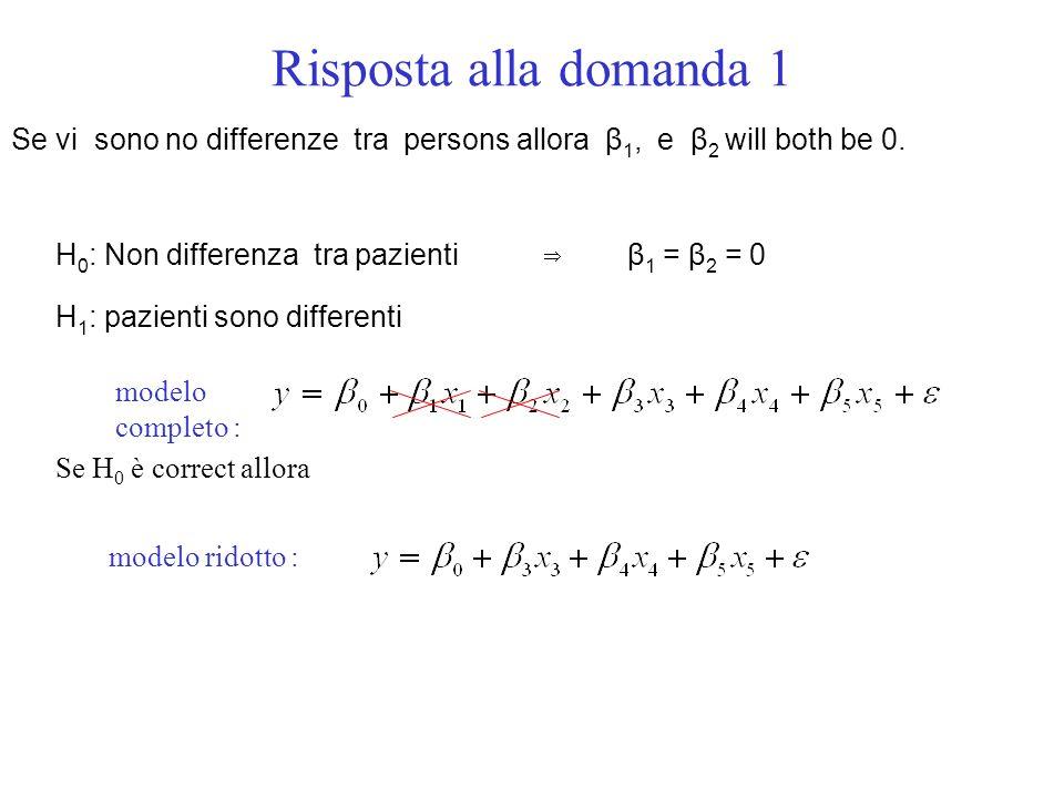 Risposta alla domanda 1 modelo completo : Se vi sono no differenze tra persons allora β 1, e β 2 will both be 0.