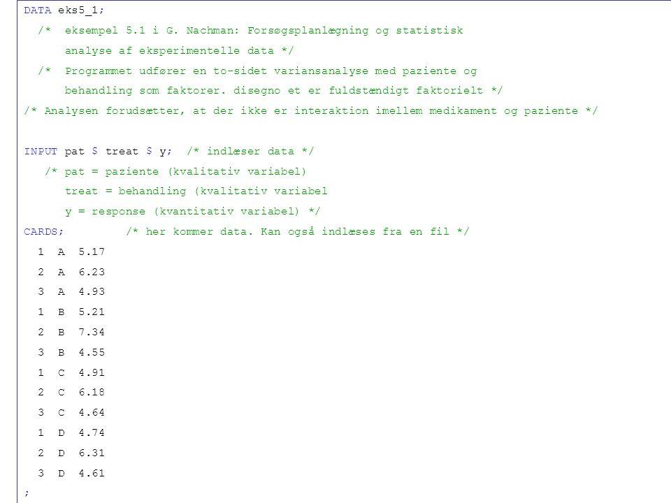 DATA eks5_1; /* eksempel 5.1 i G.