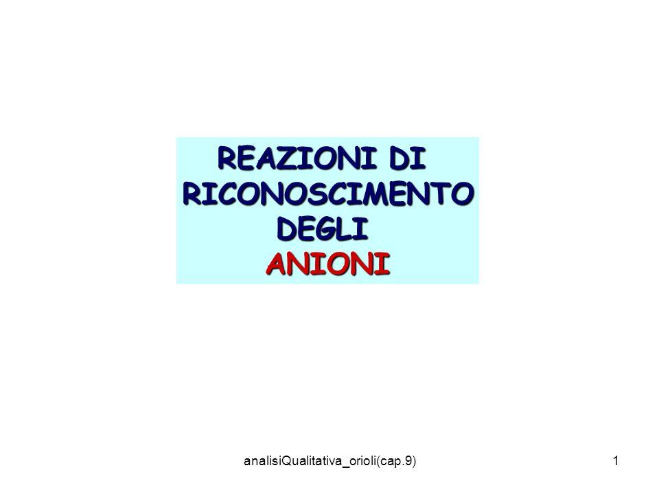 analisiQualitativa_orioli(cap.9)1 REAZIONI DI RICONOSCIMENTODEGLIANIONI