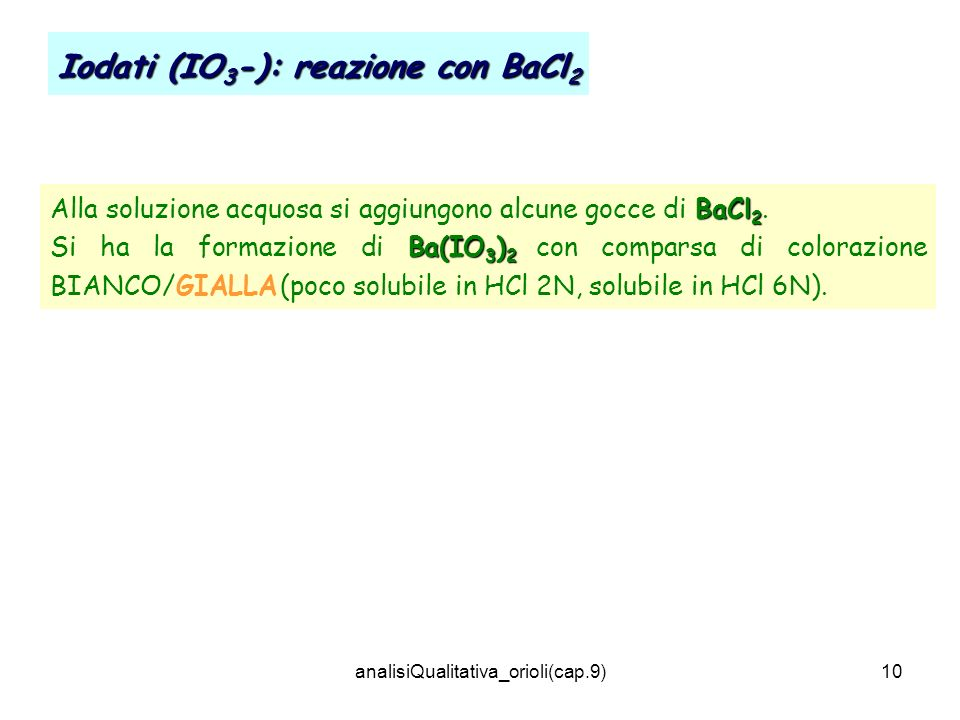 analisiQualitativa_orioli(cap.9)10 Iodati (IO 3 -): reazione con BaCl 2 BaCl 2 Alla soluzione acquosa si aggiungono alcune gocce di BaCl 2. Ba(IO 3 )