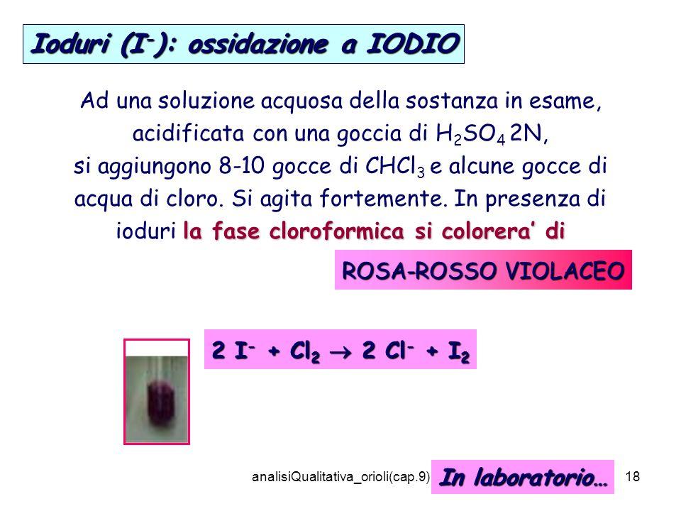 analisiQualitativa_orioli(cap.9)18 Ioduri (I - ): ossidazione a IODIO Ad una soluzione acquosa della sostanza in esame, acidificata con una goccia di H 2 SO 4 2N, la fase cloroformica si colorera di si aggiungono 8-10 gocce di CHCl 3 e alcune gocce di acqua di cloro.