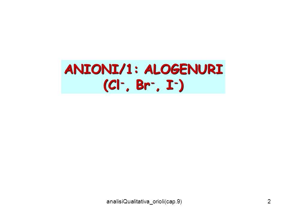 analisiQualitativa_orioli(cap.9)2 ANIONI/1: ALOGENURI (Cl -, Br -, I - )