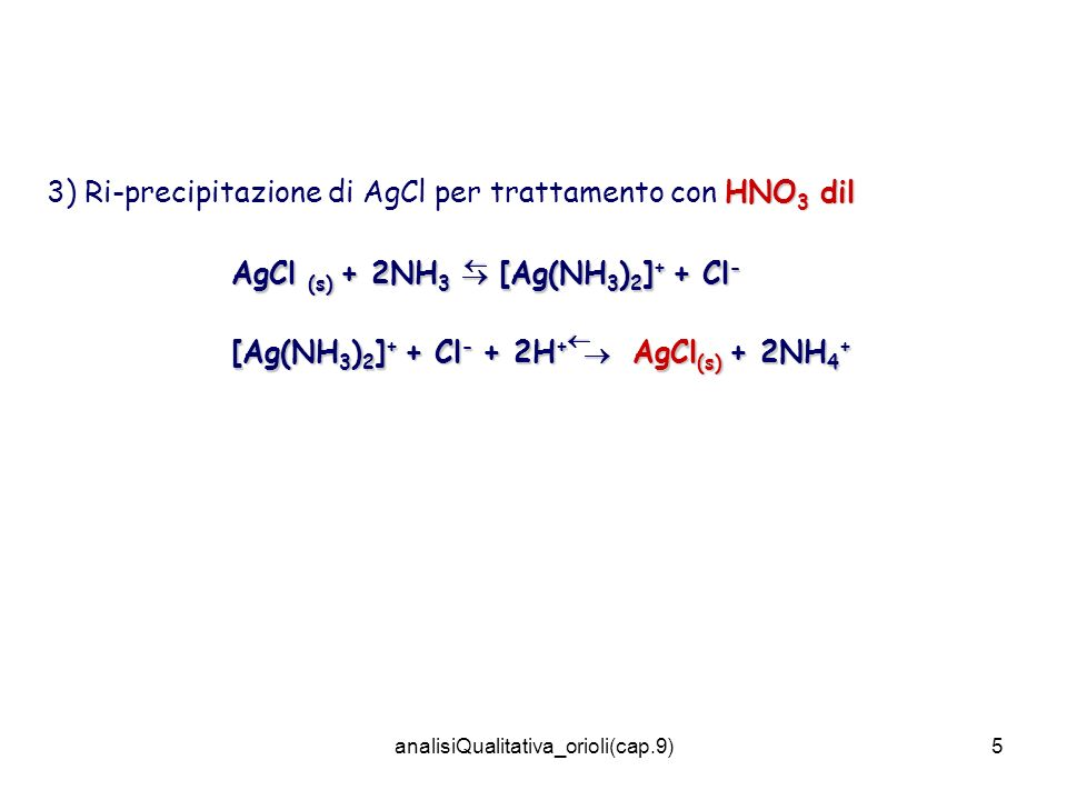 analisiQualitativa_orioli(cap.9)5 HNO 3 dil 3) Ri-precipitazione di AgCl per trattamento con HNO 3 dil AgCl (s) + 2NH 3 [Ag(NH 3 ) 2 ] + + Cl - [Ag(NH 3 ) 2 ] + + Cl - + 2H + AgCl (s) + 2NH 4 +