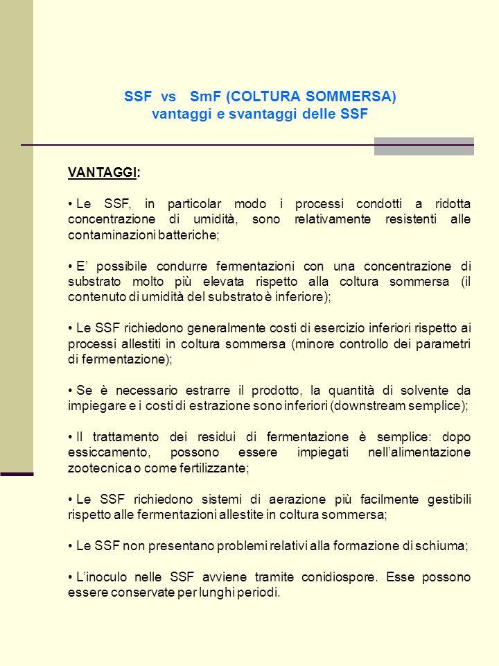 SSF vs SmF (COLTURA SOMMERSA) vantaggi e svantaggi delle SSF VANTAGGI: Le SSF, in particolar modo i processi condotti a ridotta concentrazione di umid