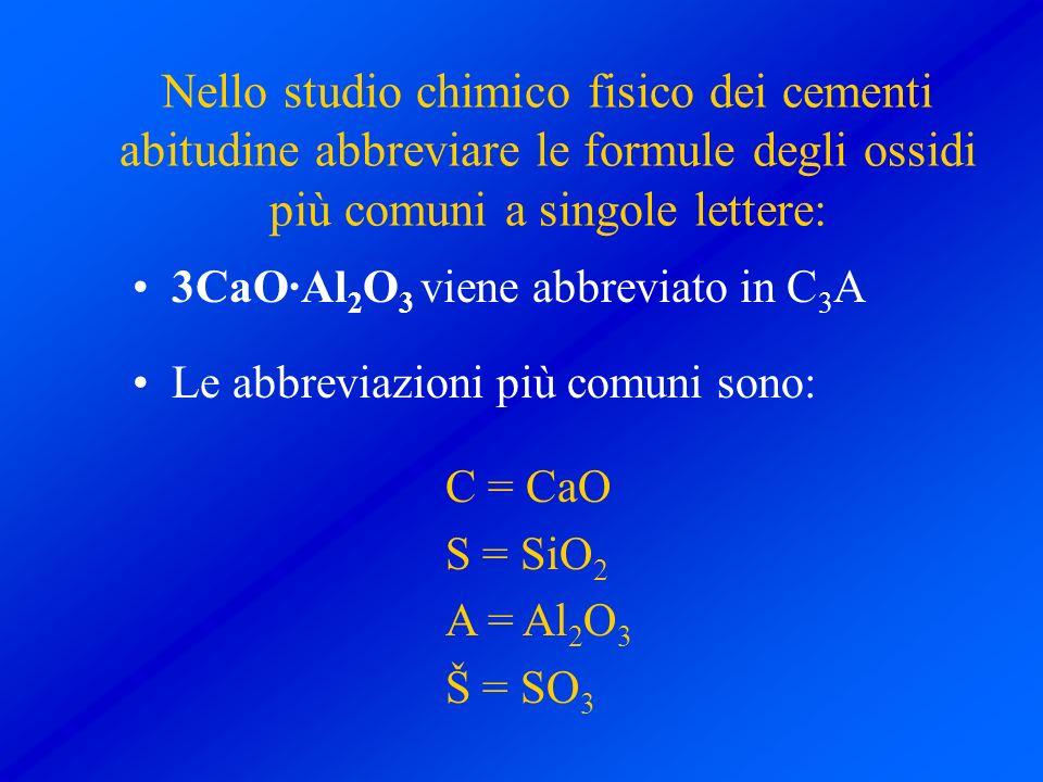 Nello studio chimico fisico dei cementi abitudine abbreviare le formule degli ossidi più comuni a singole lettere: 3CaO·Al 2 O 3 viene abbreviato in C