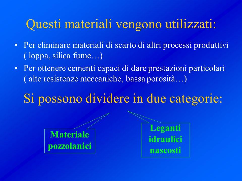 Questi materiali vengono utilizzati: Per eliminare materiali di scarto di altri processi produttivi ( loppa, silica fume…) Per ottenere cementi capaci