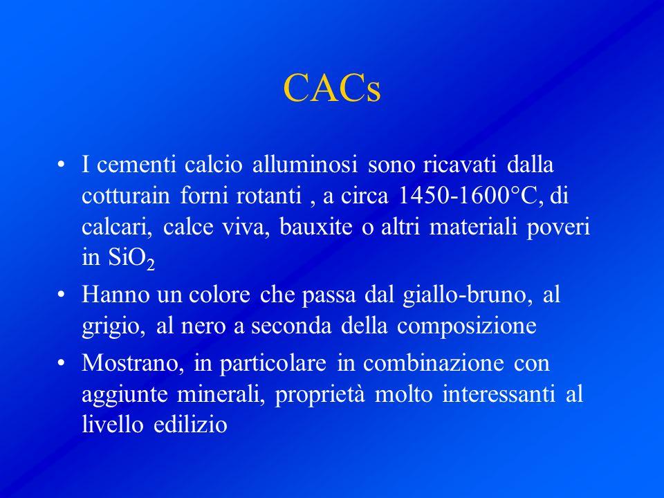 CACs I cementi calcio alluminosi sono ricavati dalla cotturain forni rotanti, a circa 1450-1600°C, di calcari, calce viva, bauxite o altri materiali p