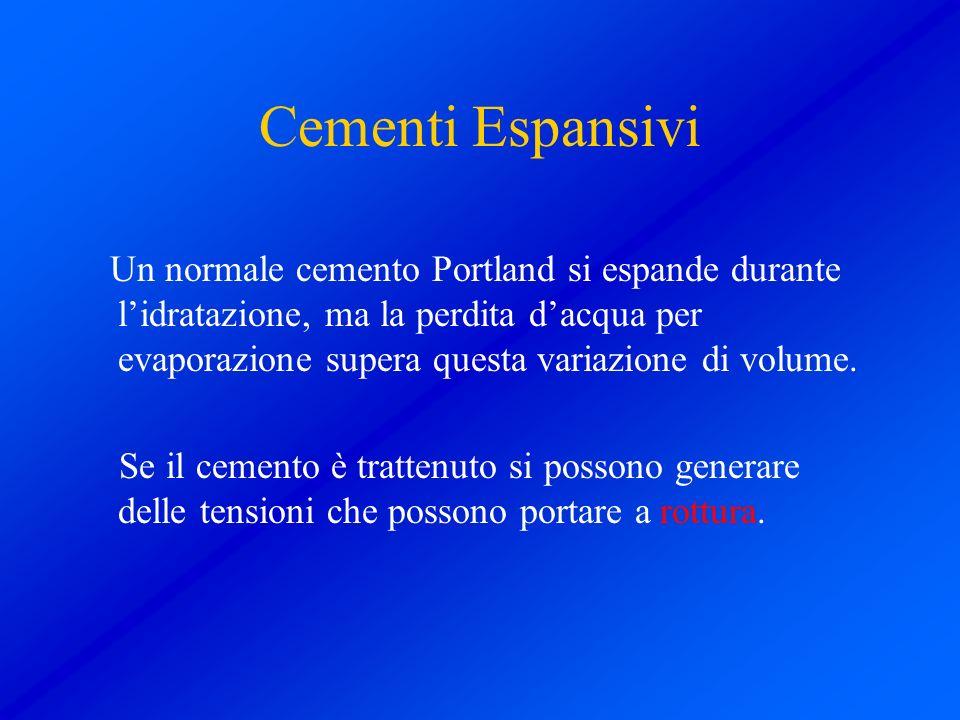 Cementi Espansivi Un normale cemento Portland si espande durante lidratazione, ma la perdita dacqua per evaporazione supera questa variazione di volum