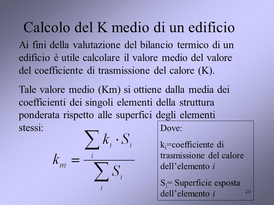 20 Calcolo del K medio di un edificio Ai fini della valutazione del bilancio termico di un edificio è utile calcolare il valore medio del valore del c