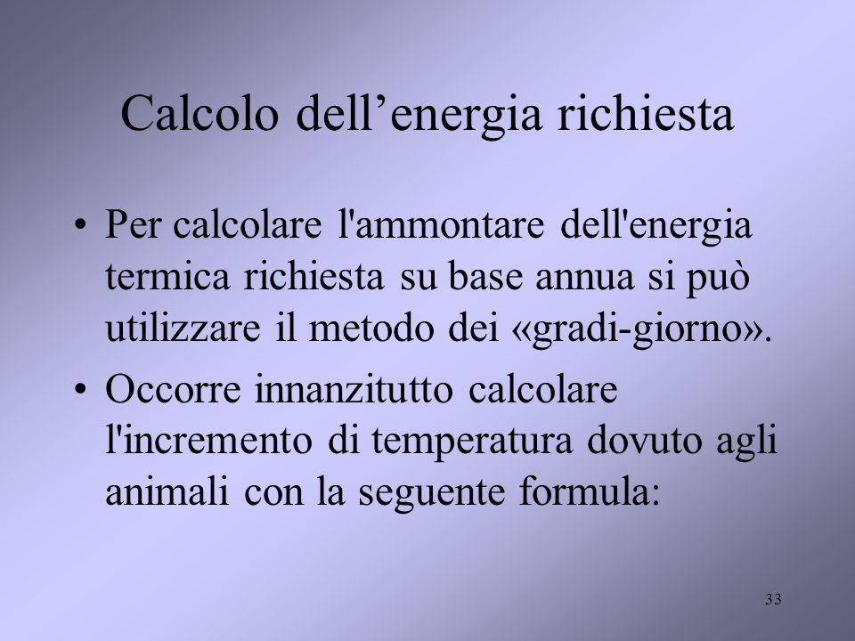 33 Calcolo dellenergia richiesta Per calcolare l'ammontare dell'energia termica richiesta su base annua si può utilizzare il metodo dei «gradi-giorno»