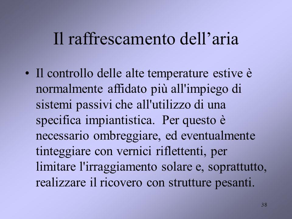 38 Il raffrescamento dellaria Il controllo delle alte temperature estive è normalmente affidato più all'impiego di sistemi passivi che all'utilizzo di
