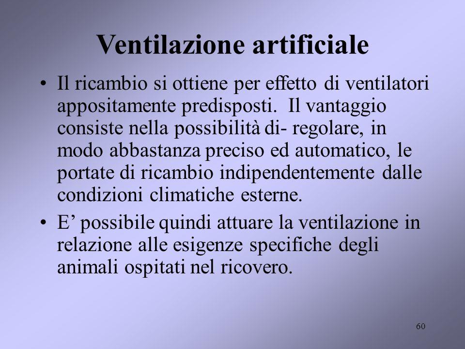 60 Ventilazione artificiale Il ricambio si ottiene per effetto di ventilatori appositamente predisposti. Il vantaggio consiste nella possibilità di- r