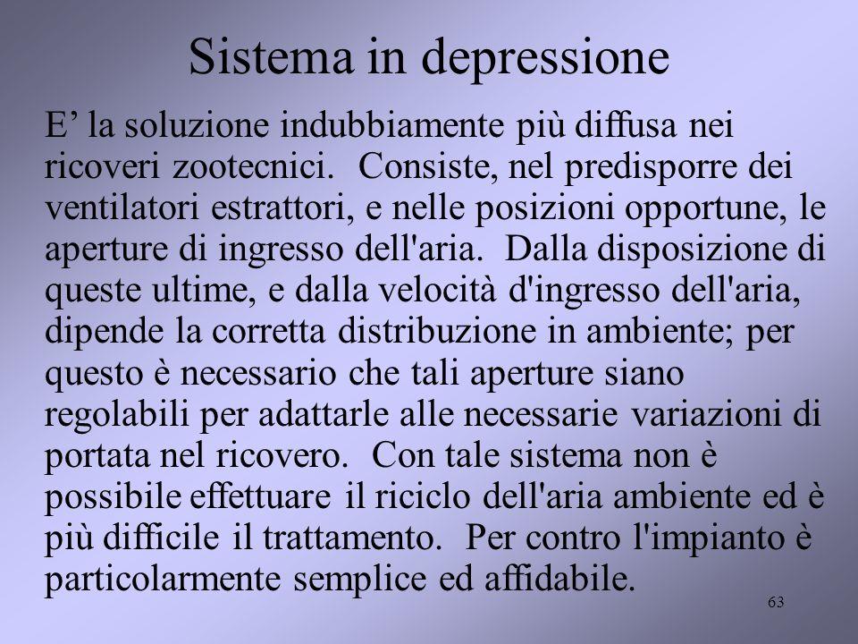 63 Sistema in depressione E la soluzione indubbiamente più diffusa nei ricoveri zootecnici. Consiste, nel predisporre dei ventilatori estrattori, e ne