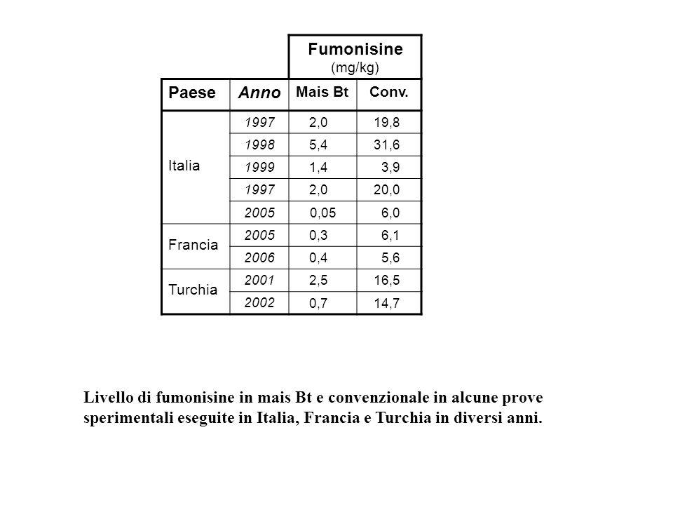 Livello di fumonisine in mais Bt e convenzionale in alcune prove sperimentali eseguite in Italia, Francia e Turchia in diversi anni. Fumonisine (mg/kg