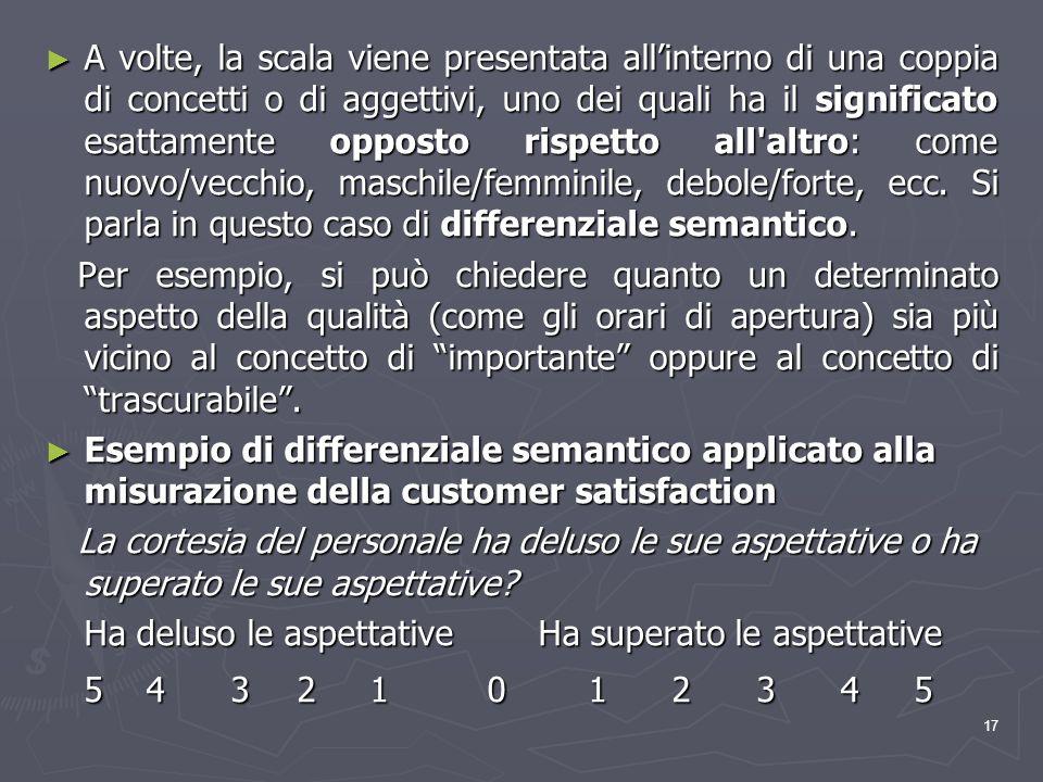 17 A volte, la scala viene presentata allinterno di una coppia di concetti o di aggettivi, uno dei quali ha il significato esattamente opposto rispett
