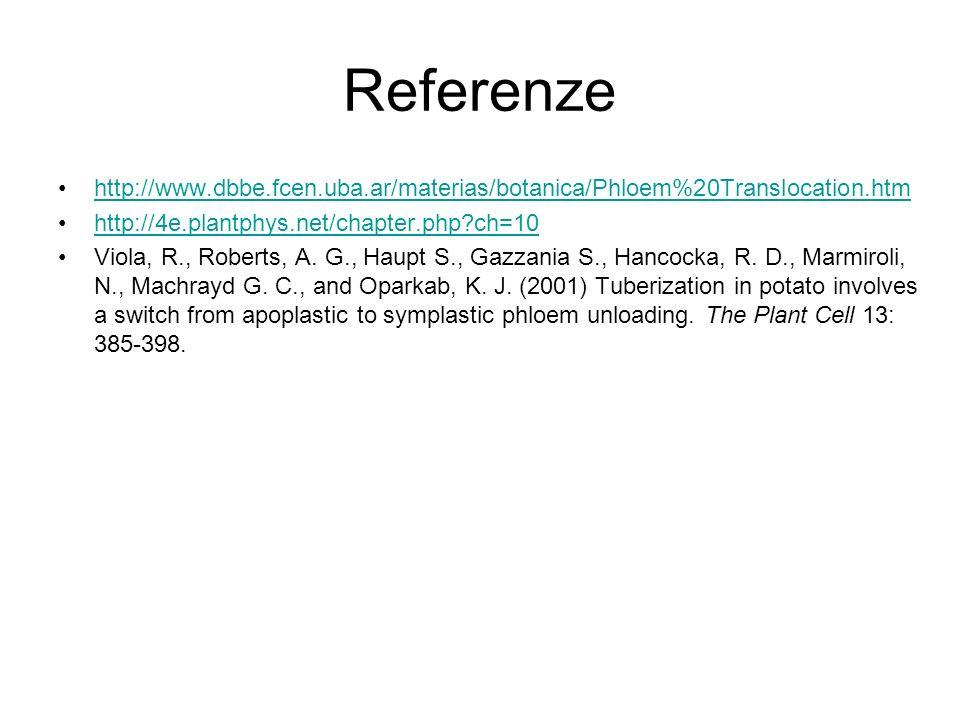 Referenze http://www.dbbe.fcen.uba.ar/materias/botanica/Phloem%20Translocation.htm http://4e.plantphys.net/chapter.php?ch=10 Viola, R., Roberts, A. G.