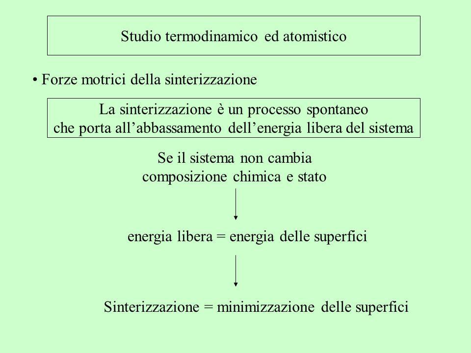 Studio termodinamico ed atomistico Forze motrici della sinterizzazione La sinterizzazione è un processo spontaneo che porta allabbassamento dellenergi