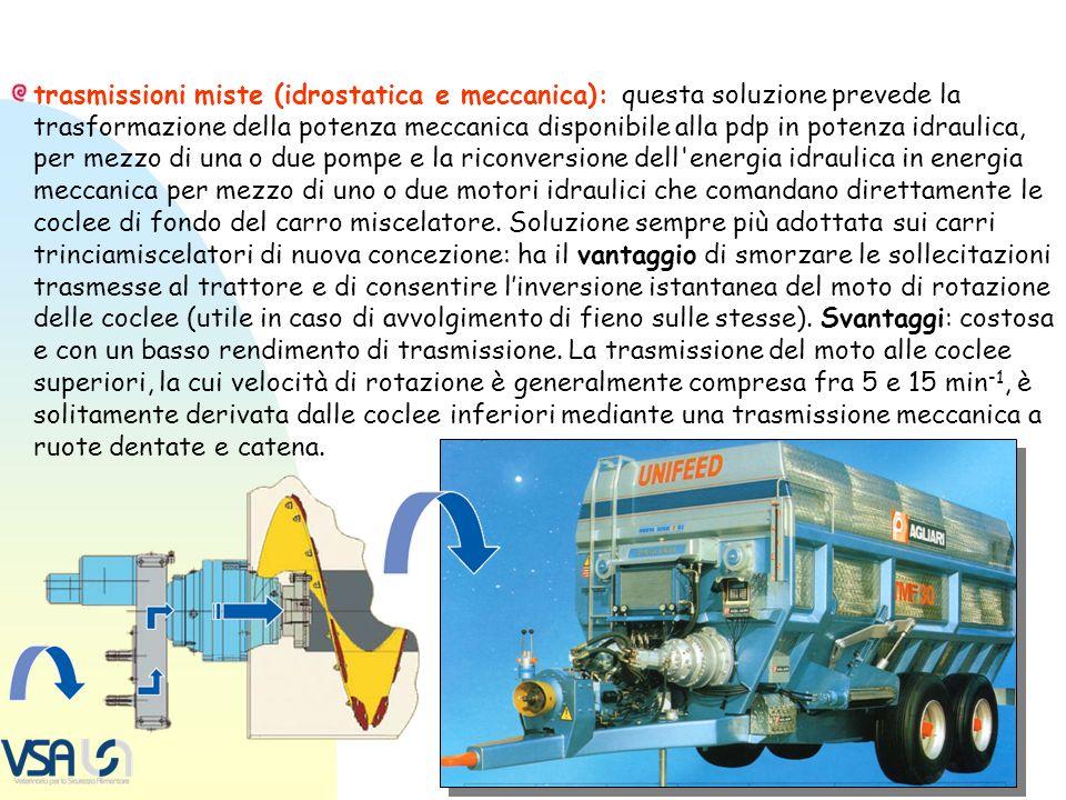 trasmissioni miste (idrostatica e meccanica): questa soluzione prevede la trasformazione della potenza meccanica disponibile alla pdp in potenza idrau