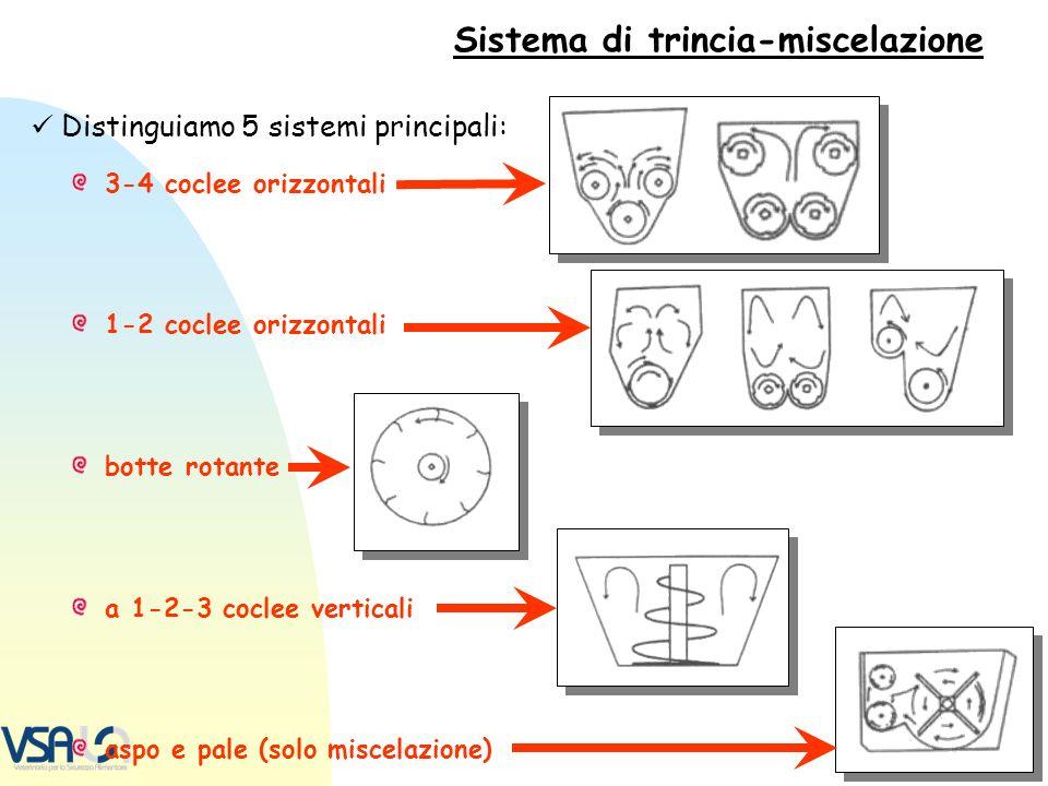 Sistema di trincia-miscelazione Distinguiamo 5 sistemi principali: 3-4 coclee orizzontali 1-2 coclee orizzontali botte rotante a 1-2-3 coclee vertical