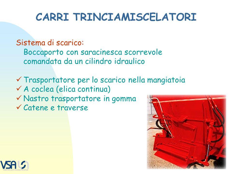 CARRI TRINCIAMISCELATORI Sistema di scarico: Boccaporto con saracinesca scorrevole comandata da un cilindro idraulico Trasportatore per lo scarico nel